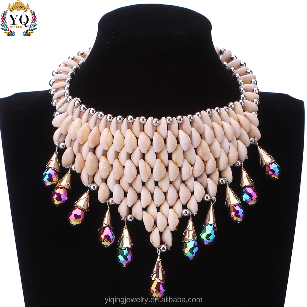 NYQ-00428 2017 latest ally wholesale beach gift party wedding white shell seashell statement necklace with coloful crystal ball