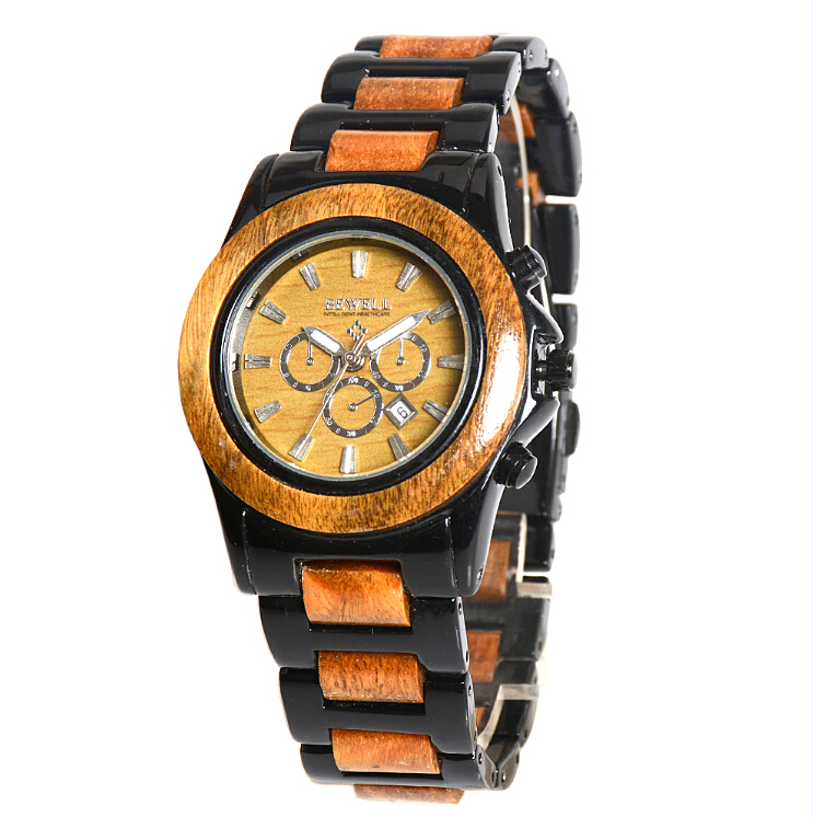 2017 Timeproof natural wood with metal own brand men's fashion watches in wristwatches