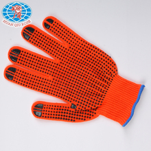 10G bright orange color TC gloves with PVC dots on palm