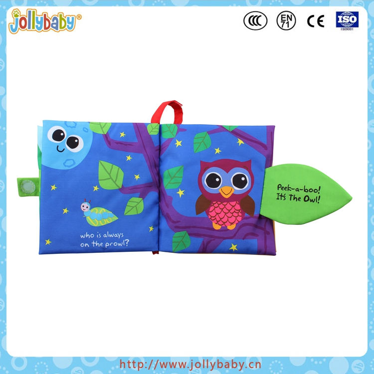 Jollybaby hot sale colorful fabric smple cloth soft book for baby learning