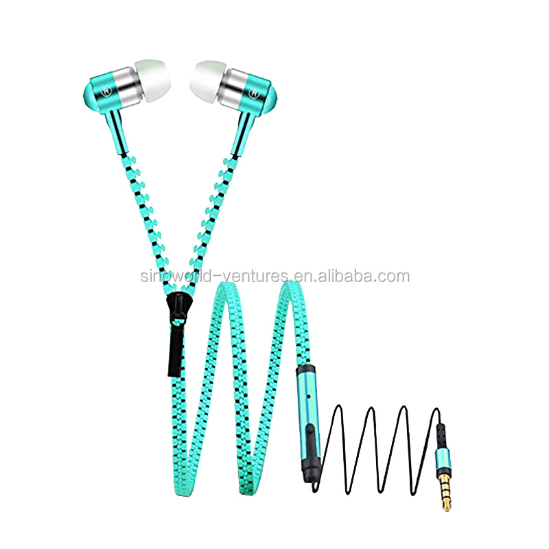 Wholesale zipper stereo earphone with custom design for mobile phone earbuds speakers