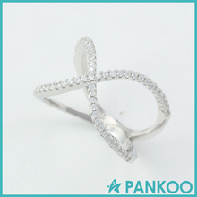 Womens 925 Sterling Silver Criss Cross CZ Micro Pave Setting X Shaped Ring