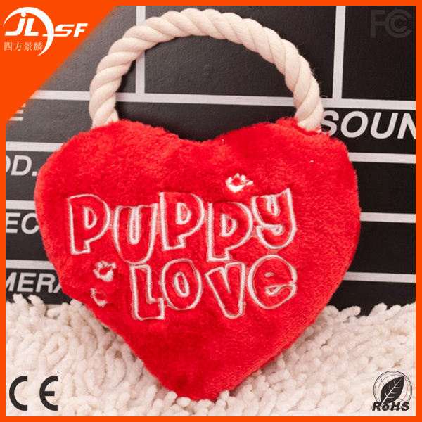 Heart Shaped Singing Plush Stuffed Pet Dog Toy with Cotton Rope Chewing