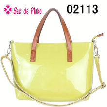2013 Fashion black and yellow new arrival shiny patent leather women purse bueno handbag hand bag