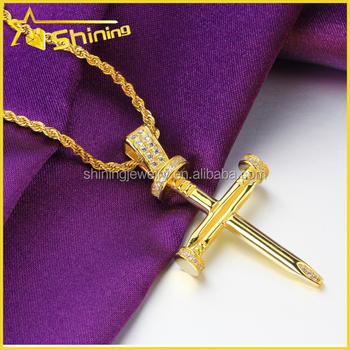 Yellow Gold Finish Sterling Silver Simulated Lab Diamond Nail Cross Pendant 1.7""