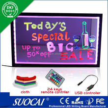 2012 latest new hot led writing board with flashing neon light settings board