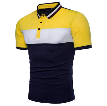 Free Shipping Men Short Sleeve Polo Shirt Fashion Summer Striped Patchwork Shirts