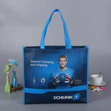OEM Foldable laminated Nonwoven Shopping Bag with X stitched handles