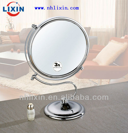 Round shape make-up mirror with nickel plated handle, table make up mirror for wholesaler