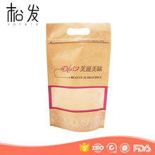 Plastic PE coated zipper top kraft paper bag for snack packing
