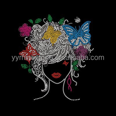 Afro Lady Hotfix Motif Girls Rock Rhinestone Transfer