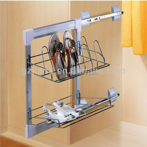 Wardrobe fitting chrome side pull out shoe rack