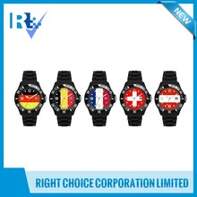 French, Germany, Belgium, Austria, Switzerland Silicon Flag Sport Watch with Date