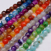 Wholesale Mixed Natural Gemstone 8mm Round Faceted Stripe Agate Beads