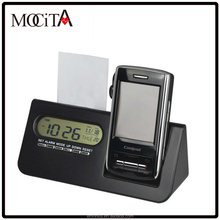 Digital Alarm clock with mobile holder and name card holder, multifunction LCD clock