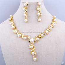 gold pearl jewelry set, white stone 18 carat gold jewelry sets