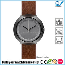 Brushed black case stainless steel Japan Miyota movement 3ATM water resistant woven watch band