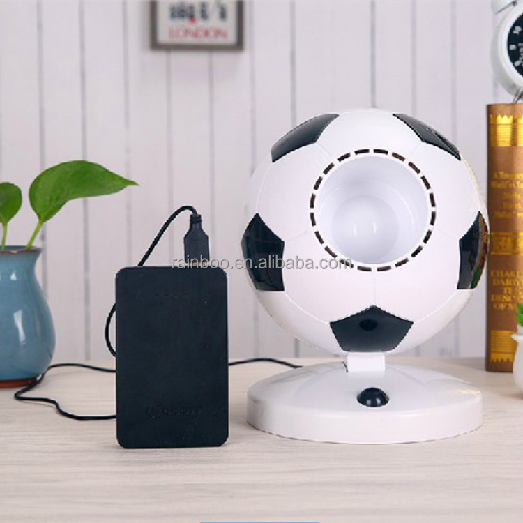 Hot popular style rechargeable portable soccer ball design air conditoner fan usb mini table fan