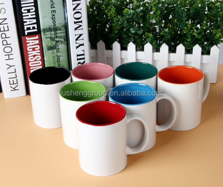 11oz customize double color inner red/blue/orange/purple promotional ceramic mug/ceramic coffee mug sublimation travel mug