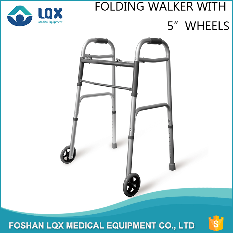 Medical product elderly disabled lightweight aluminium walking frame walker with two wheel