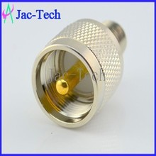 Brass material rf connector adapter UHF male plug to F female jack cable coaxial connector