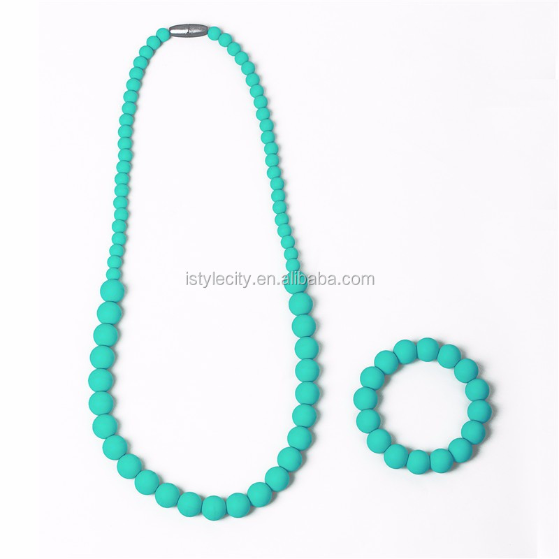 Teething Necklace for Mom to Wear and Teether Bracelet FDA Silicone Nursing