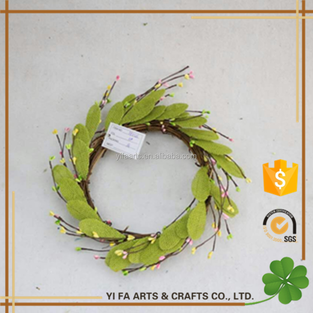 "12""Outsida Dia artificial berry wreaths With Burlap Leaves,Pip Berries"