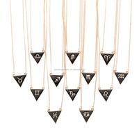 Newest design top selling enamel triangle horoscope zodiac pendant necklace