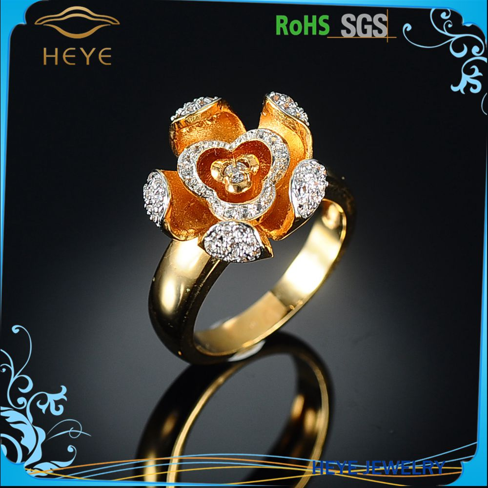 Super Flash Imitation Gold Round Cut Flower Petal Engagement Rings Jewelrys