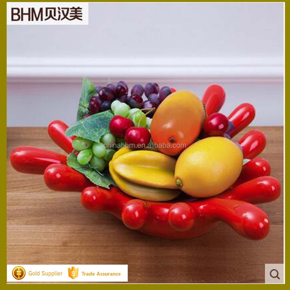 2016 large sales palm style fruit plate ceramics home deco crafts for living room ornaments