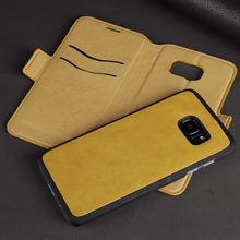 Customer Fashion Golden Yellow PU leather Cover,for Samsung Galaxy s7 Edge Case