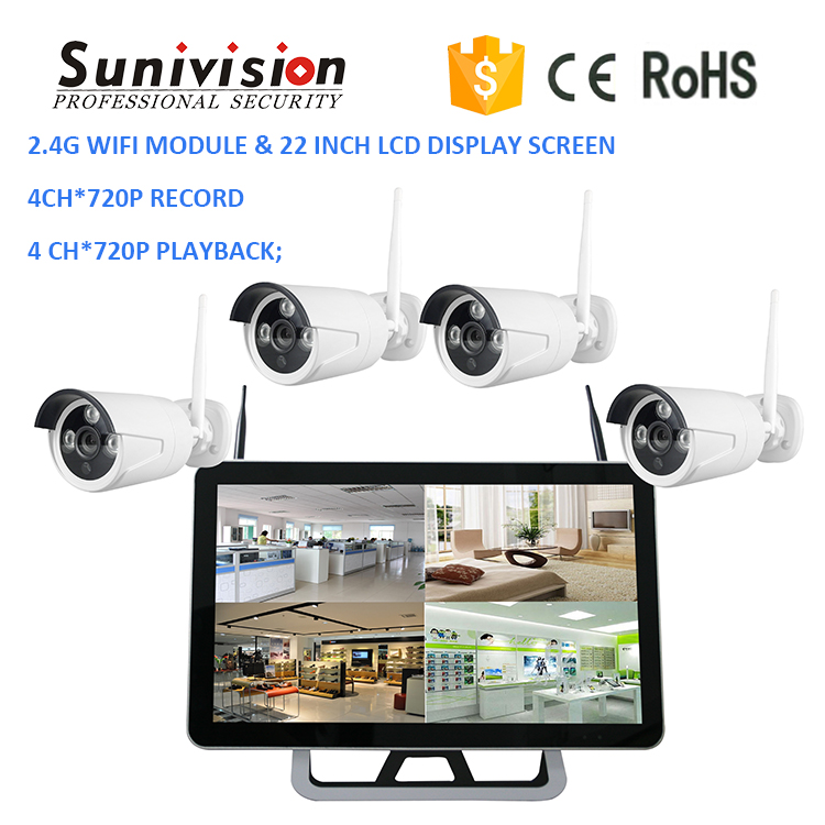 Promotion! 22 inch LCD display screen 4ch*720P record & playback 2.4G WIFI module nvr 720p ip wireless camera kit