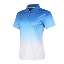 custom women blue sublimation print breathable mesh slim fit dry fit polyester 180gsm racing polo shirt(A925)