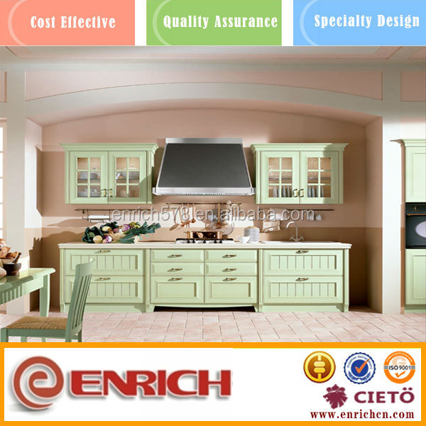 Romantic french vanilla kitchen cabinet in natural green