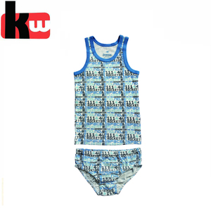 100% cotton matching set young boy underwear set model, tank top & slips