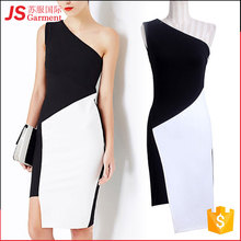 JS 20 One Shoulder White Black Latest Sexy Party Dress Designs For Young Ladies 727
