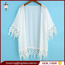 White Half Sleeve Lace Embellished Sheer Chiffon Kimono for Ladies