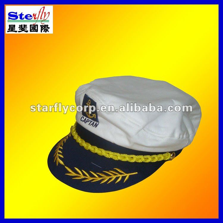 Party Blue White Embroidered Cotton Captain Hat