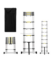 8.5 Feet Aluminum Telescoping Extension Ladder Safety Stabilizing Cross Piece and Carry Bag