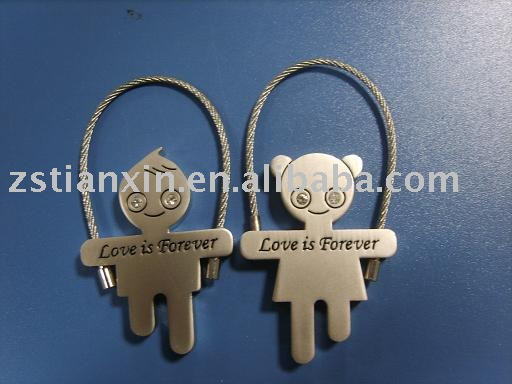Lover key chain with crystal/lover wire keychain/lover key ring