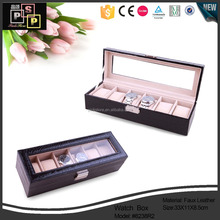 Customize PU Leahter Black 6 watch display case