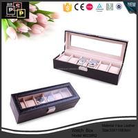 Hello Pink Chinese Factory Customize PU Leahter Black 6 watch display case