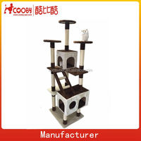 sisal scratching cat tree, wholesale condo cat tree, chocolate color toy cat tree