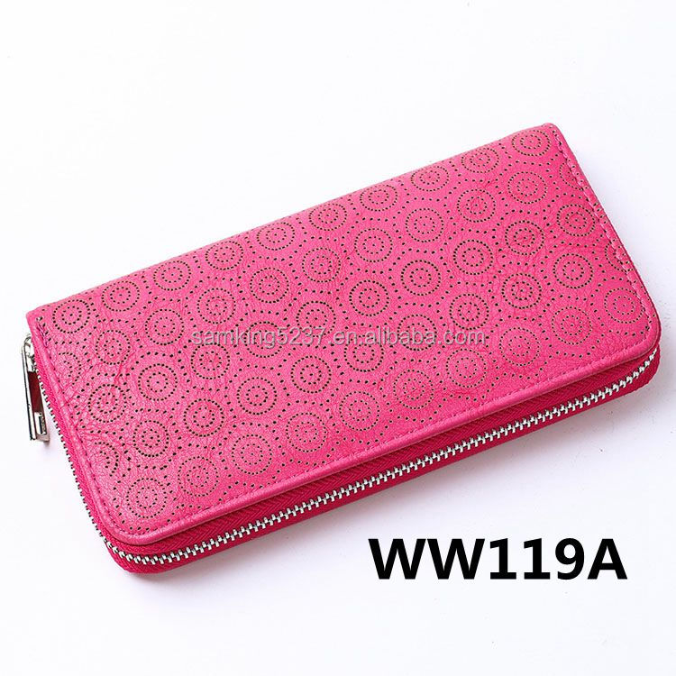 New Purse Style Ladies Rose Red Laser Hollow Pattern Leather <strong>Wallet</strong> Designer Zip Around Purse For Women