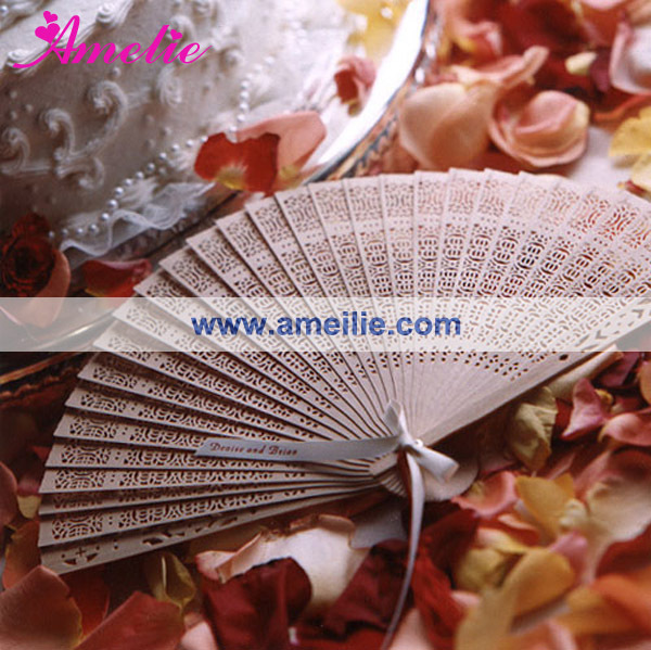 AP03177 Pure Pink Color Silk Fan Unique Wedding Favor