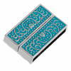 Magnetic Clasps Rectangle Silver Tone Pattern Carved Light blue Enamel 32mm x 22mm,2 Sets