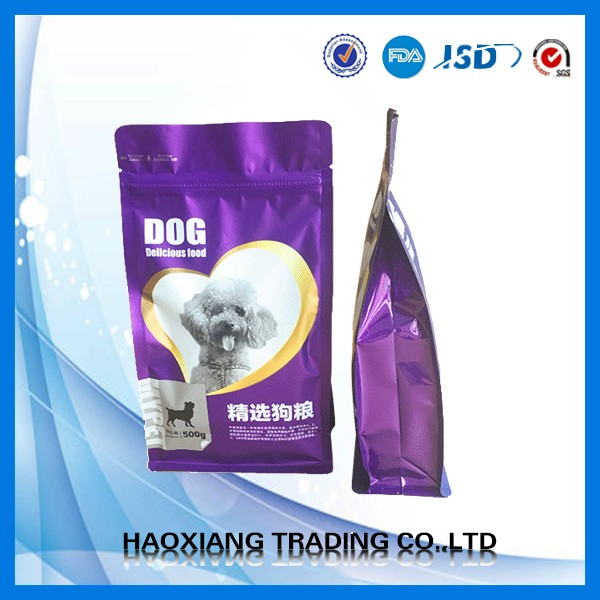 Low price pet cat dog food packing square bottom plastic bag