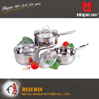 kitchen accessories cookware stainless steel capsule bottom cookwares , 7pc cookware set
