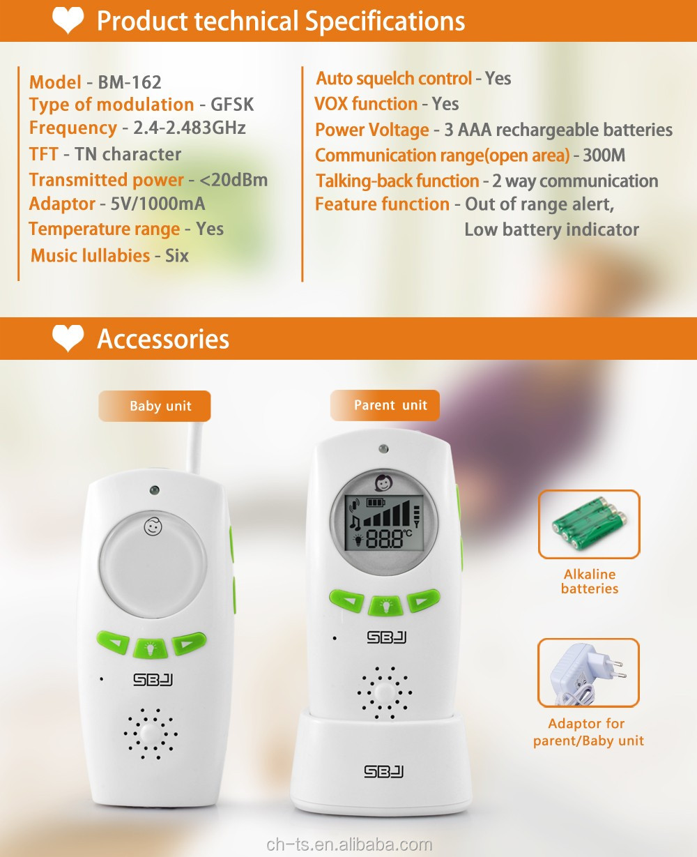 Temperature Display Baby Phone,2.4GHz Digital Baby Monitor