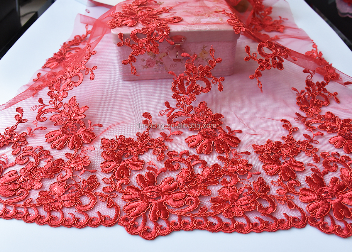 RED HOT RED HOT -cord embroidery fabric-bridal fabric